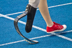 Handicapped sprinter walking stock images