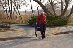 Handicapped Street Crossing Royalty Free Stock Photography