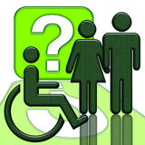 Handicapped in wheelchair. Woman and man couple standing together near handicapped person in wheelchair with big question symbol, illustration isolated with Royalty Free Stock Image