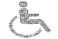 Handicapped in wheelchair word shape Stock Images