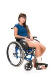 Handicapped woman on wheelchair Royalty Free Stock Image