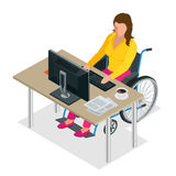 Handicapped woman in wheelchair in a office working on a computer. Flat 3d isometric vector illustration. International Royalty Free Stock Photo