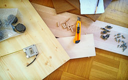 Handicradt work at home, project and tools Stock Photo