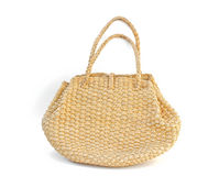 Handicraft bag made by water hyacinth dried. Royalty Free Stock Image