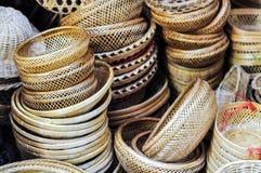 Handicraft Basket Made From Nature Source. Bamboo, Rattan Stock Photo
