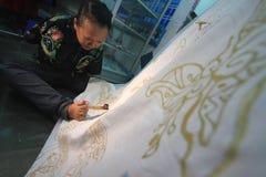 Handicraft batik fabrics Royalty Free Stock Photography