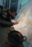 Handicraft batik fabrics Royalty Free Stock Images