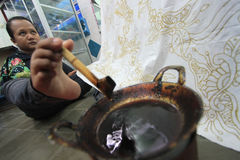 Handicraft batik fabrics Stock Photography