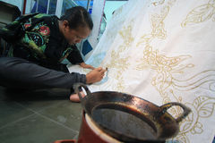 Handicraft batik fabrics Stock Photo
