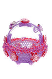 Handicraft of beads crystal basket shaped plastic bowl Royalty Free Stock Image