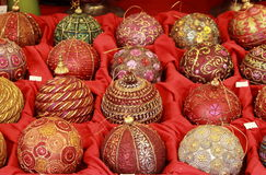 Handicraft christmas baubles Royalty Free Stock Photos
