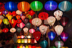 Handicraft colorful lamps. Illuminated at night, in Ha Noi, Vietnam Royalty Free Stock Photography