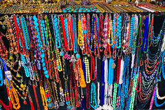 Handicraft Trinkets, Colorful Necklaces and Chains, Sidi Bou Said Market stock photos