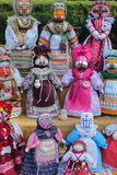 Handicraft ethnic dolls. Handicraft decorative dolls, ethnic style woman symbol Stock Photos