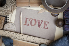 Handicraft frame with love Message. Handicraft frame with love card old style Stock Images