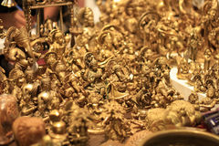 Handicraft Gold Idols of Hindu Gods for Sale Stock Photos