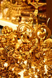 Handicraft Gold Idols from India. Handicraft Gold Idols of Hindu Gods and Jesus for sale in India Asia Royalty Free Stock Image