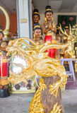Handicraft golden dragon made of wood Royalty Free Stock Photography