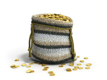 Handicraft handmade knitting small bag of gold coins 3d illustra Royalty Free Stock Images