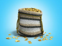 Handicraft handmade knitting small bag of gold coins  Royalty Free Stock Photo