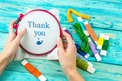 Handicraft handmade lettering Thank you Royalty Free Stock Photo