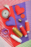 Handicraft hearts, fabric materials and items for sewing Stock Image