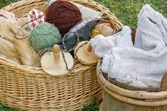 Handicraft Items. Wooden baskets with various handicraft items stock photos