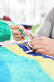 Handicraft. Knitting crochet. royalty free stock photos