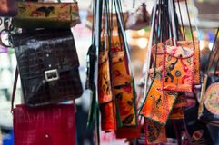 Handicraft leather bags for sale Royalty Free Stock Photography