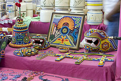 Mexican Huichol handicrafts for sale stock photography