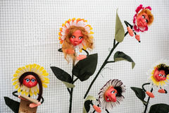 Handicraft mart Kaziukas in Vilnius, Lithuania: made-up flowers Royalty Free Stock Photos