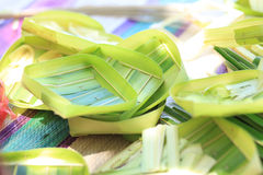 Handicraft from palm tree leaves Royalty Free Stock Photography