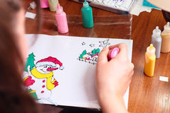 Handicraft picture with snowman Stock Photo