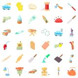 Handicraft production icons set, cartoon style Royalty Free Stock Photos