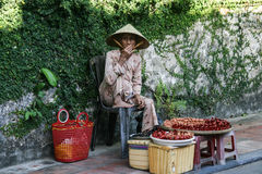 The handicraft seller in hoi an ancient town,vietnam Stock Photography