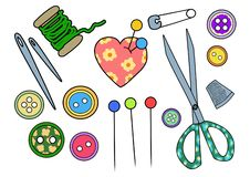 Handicraft and sewing kit stock illustration