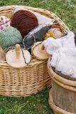 Handicraft Supplies. Wooden baskets with various crafting supplies Royalty Free Stock Image