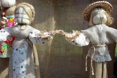 Handicraft ukrainian dolls. Handicraft decorative dolls, ethnic style family symbol Stock Image