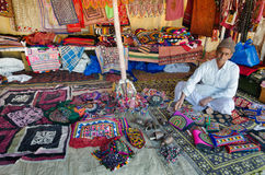 Handicraft vendor in his shop, Kutch, Gujarat, India Stock Image