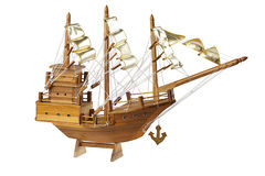 Wooden sailing ship isolated on white  Stock Photos