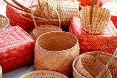 Handicrafts. Handicrafted bamboo baskets for household use in asia Royalty Free Stock Images