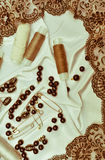 Handicrafts background. Thread, pins, thimbles. stock photo