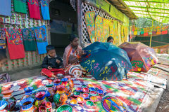 Handicrafts are being prepared for sale in Pingla village, West Bengal, India Royalty Free Stock Images