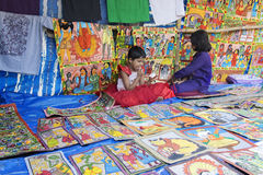 Handicrafts are being sold by rural Indian Girl, Pingla village Royalty Free Stock Images
