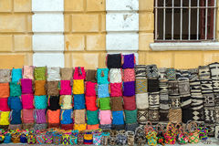 Handicrafts in Cartagena. Souvenir bags for sell in Cartagena, Colombia.  The style is typical of the Wayuu Indians Royalty Free Stock Photo
