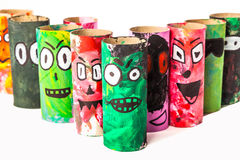Handicrafts Monsters. Monsters made with toilet paper roll Stock Photos