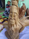Handicrafts. A old man made up from root of a tree Royalty Free Stock Images