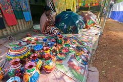 Handicrafts are perpared for sale by rural Indian woman in Pingla village, India Stock Photography