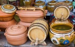 Handicrafts-receptacles. Ceramic pots, barrels exposed for sale in a bazaar Stock Image