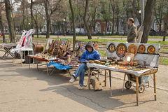 Handicrafts row of stalls . Royalty Free Stock Photo